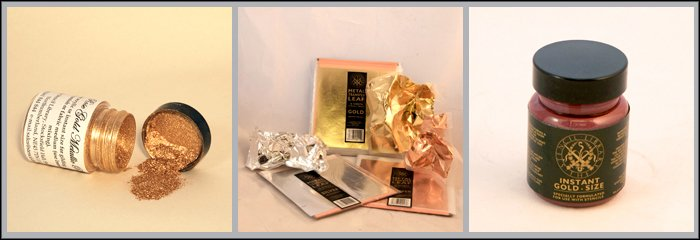 Accessories Gold powder, metal transfer leaf & gold size.