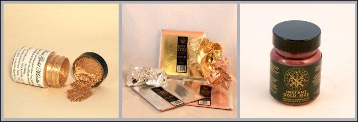 Accessories Gold powder, metal transfer leaf & gold size.